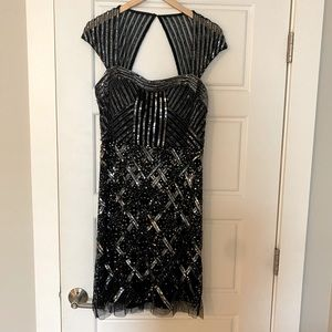Adrianna Papell Beaded Black and Silver Dress